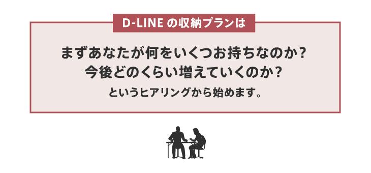 DLINEの収納プランはまずあなたが何をいくつお持ちなのか?今後どのくらい増えていくのか?というヒアリングから始めます。